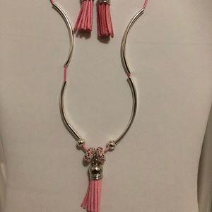 Pretty Pink Tassel Earrings Set